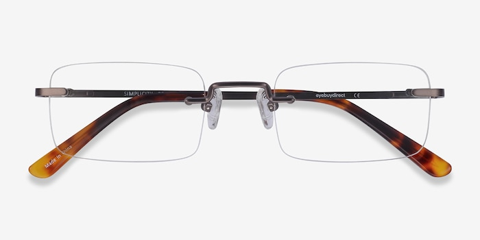Simplicity Gunmetal Metal Eyeglass Frames from EyeBuyDirect, Closed View