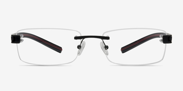 Flow Black Acetate Eyeglass Frames from EyeBuyDirect, Front View