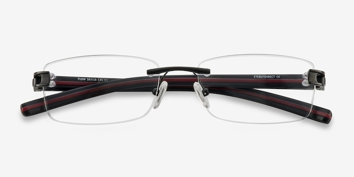 Flow Black Acetate Eyeglass Frames from EyeBuyDirect, Closed View