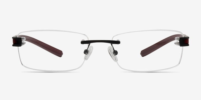 Flow Black Burgundy Acetate Eyeglass Frames from EyeBuyDirect, Front View