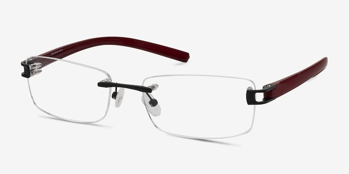 Flow Black Burgundy Acetate Eyeglass Frames from EyeBuyDirect, Angle View