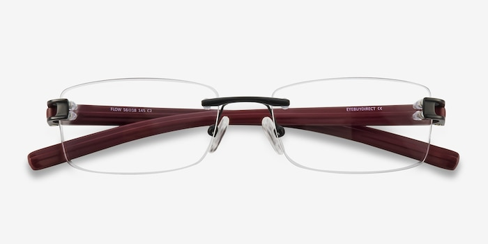 Flow Black Burgundy Acetate Eyeglass Frames from EyeBuyDirect, Closed View