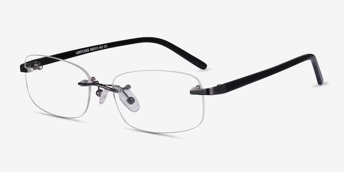 Limitless Gunmetal Metal Eyeglass Frames from EyeBuyDirect, Angle View