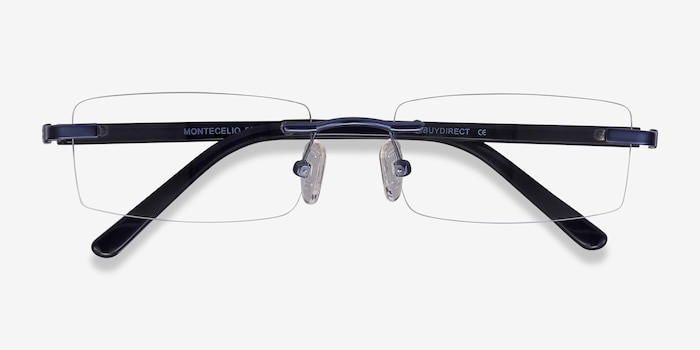 Montecelio Navy Metal Eyeglass Frames from EyeBuyDirect, Closed View