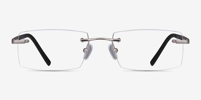 Collector Argenté Métal Montures de Lunette de vue d'EyeBuyDirect, Vue de Face