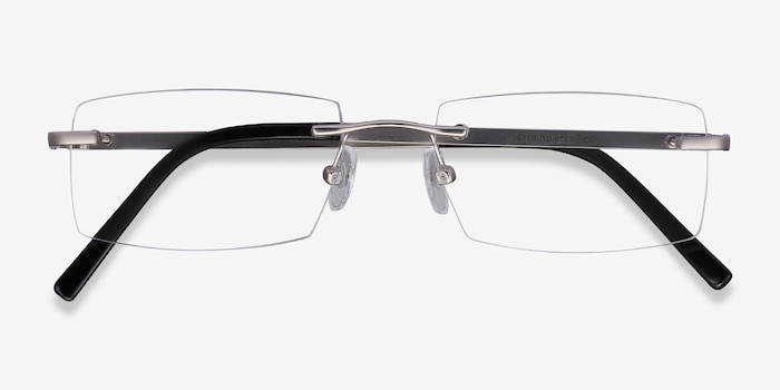 Collector Silver Metal Eyeglass Frames from EyeBuyDirect, Closed View