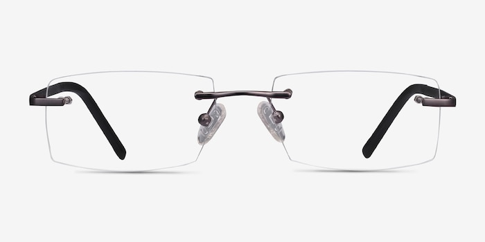 Collector Gunmetal Metal Eyeglass Frames from EyeBuyDirect, Front View