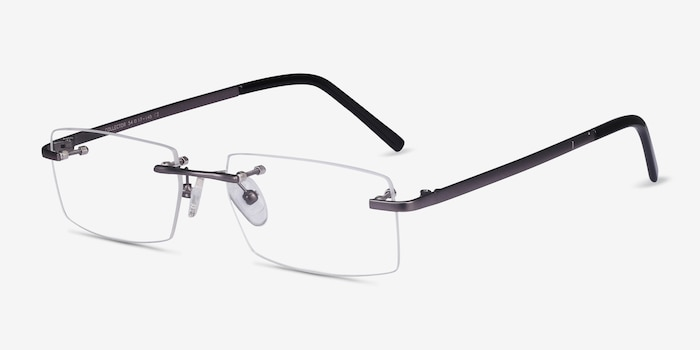 Collector Gunmetal Metal Eyeglass Frames from EyeBuyDirect, Angle View