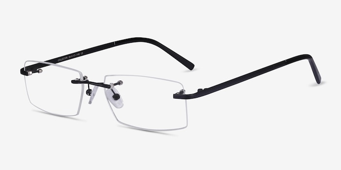 Collector Black Metal Eyeglass Frames from EyeBuyDirect, Angle View