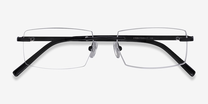 Collector Black Metal Eyeglass Frames from EyeBuyDirect, Closed View