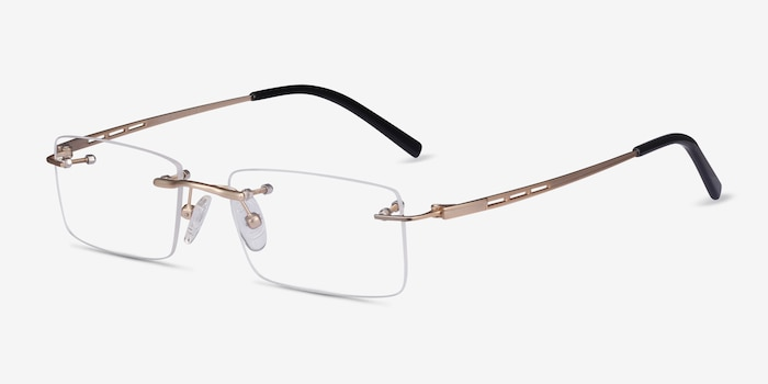 Percy Light Golden Metal Eyeglass Frames from EyeBuyDirect, Angle View