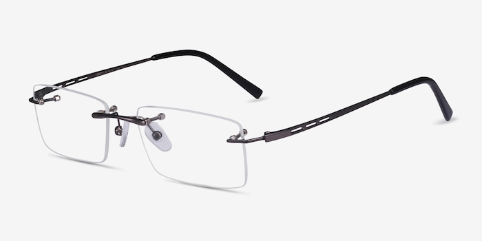 Percy Gunmetal Metal Eyeglass Frames from EyeBuyDirect, Angle View