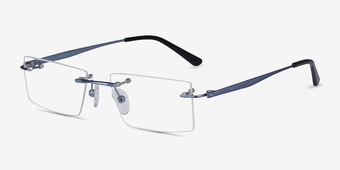 Primo Blue Metal Eyeglass Frames from EyeBuyDirect, Angle View