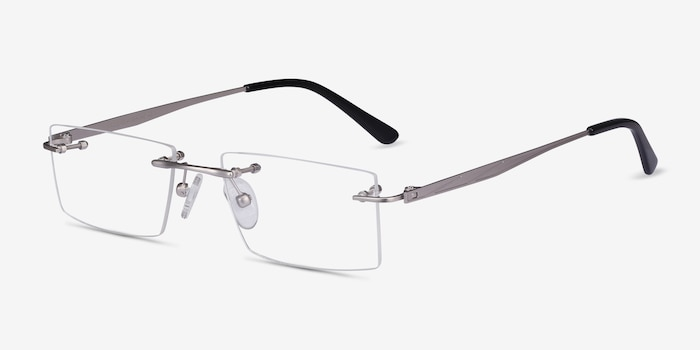 Primo Silver Metal Eyeglass Frames from EyeBuyDirect, Angle View