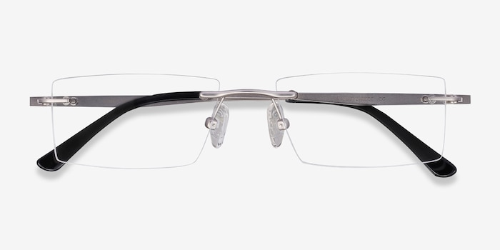 Primo Silver Metal Eyeglass Frames from EyeBuyDirect, Closed View