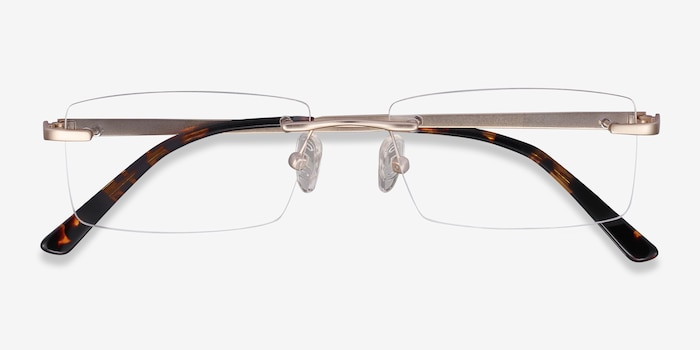 Noble Golden Metal Eyeglass Frames from EyeBuyDirect, Closed View