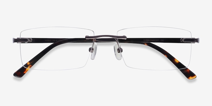 Noble Gunmetal Metal Eyeglass Frames from EyeBuyDirect, Closed View