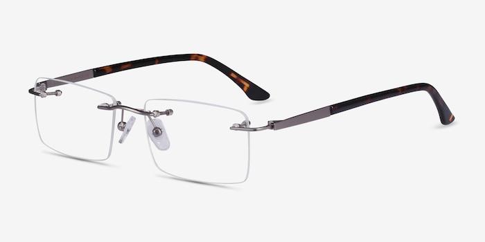 Orion Light Gunmetal Metal Eyeglass Frames from EyeBuyDirect, Angle View