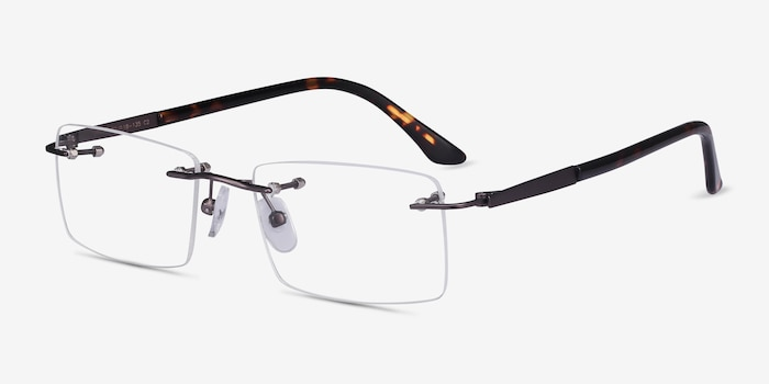 Orion Dark Gunmetal Metal Eyeglass Frames from EyeBuyDirect, Angle View
