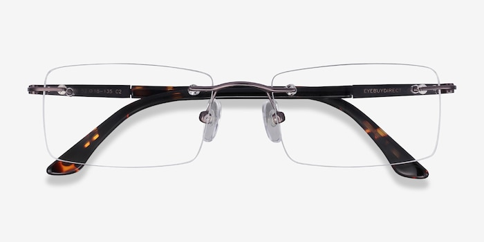 Orion Dark Gunmetal Metal Eyeglass Frames from EyeBuyDirect, Closed View