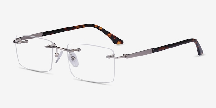 Orion Silver Metal Eyeglass Frames from EyeBuyDirect, Angle View
