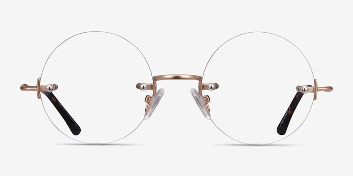 Palo Alto Golden Metal Eyeglass Frames from EyeBuyDirect, Front View