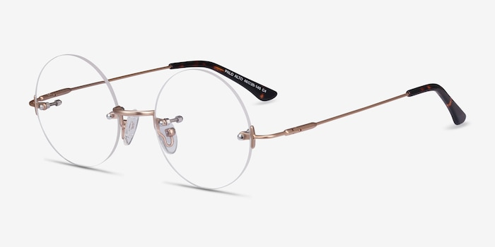 Palo Alto Golden Metal Eyeglass Frames from EyeBuyDirect, Angle View