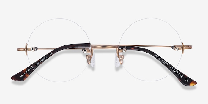 Palo Alto Golden Metal Eyeglass Frames from EyeBuyDirect, Closed View