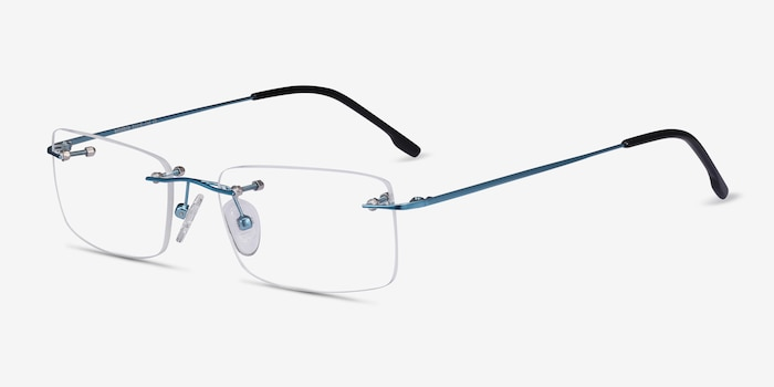 Woodrow Blue Metal Eyeglass Frames from EyeBuyDirect, Angle View