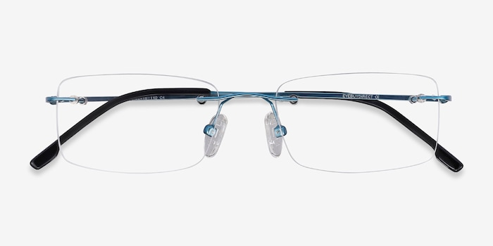 Woodrow Blue Metal Eyeglass Frames from EyeBuyDirect, Closed View