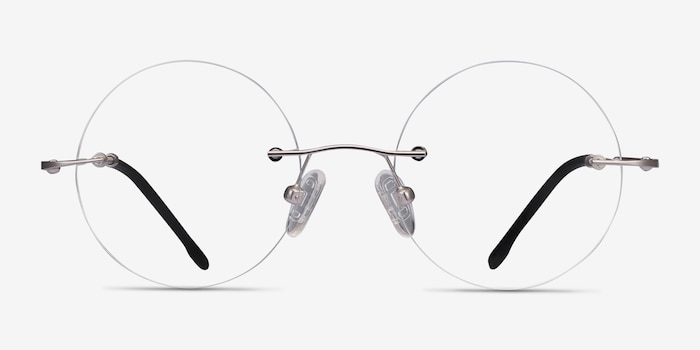 Altus Silver Metal Eyeglass Frames from EyeBuyDirect, Front View