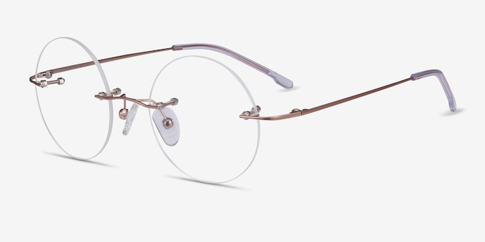 Altus Rose Gold Metal Eyeglass Frames from EyeBuyDirect, Angle View
