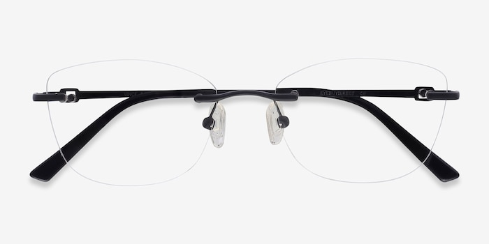 Vince Black Metal Eyeglass Frames from EyeBuyDirect, Closed View