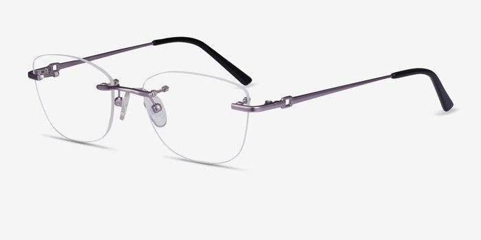 Vince Light Purple Metal Eyeglass Frames from EyeBuyDirect, Angle View