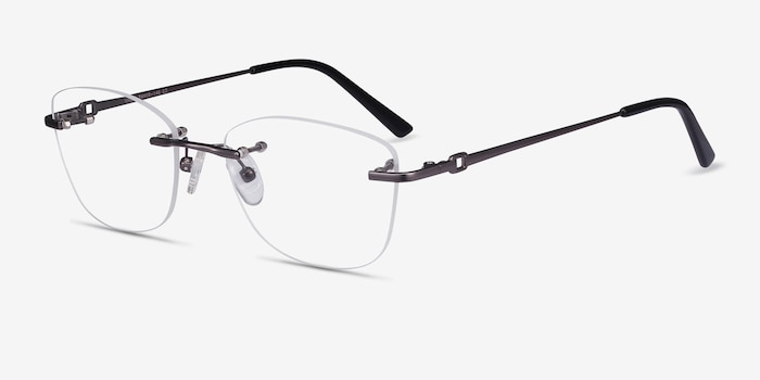 Vince Gunmetal Metal Eyeglass Frames from EyeBuyDirect, Angle View