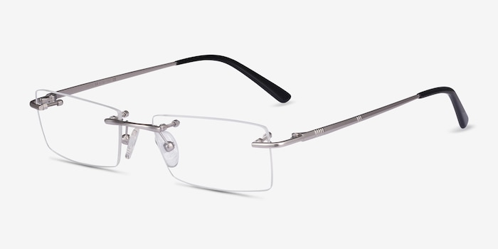 Regis Silver Metal Eyeglass Frames from EyeBuyDirect, Angle View
