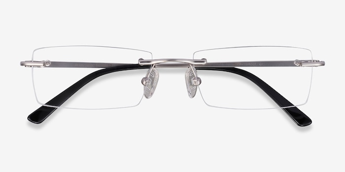 Regis Silver Metal Eyeglass Frames from EyeBuyDirect, Closed View