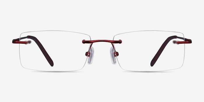 Earl Burgundy Metal Eyeglass Frames from EyeBuyDirect, Front View