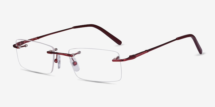 Earl Burgundy Metal Eyeglass Frames from EyeBuyDirect, Angle View
