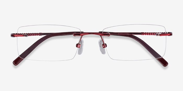 Earl Burgundy Metal Eyeglass Frames from EyeBuyDirect, Closed View