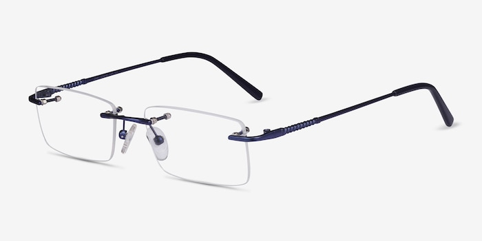 Earl Navy Metal Eyeglass Frames from EyeBuyDirect, Angle View