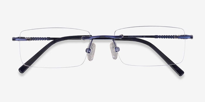 Earl Navy Metal Eyeglass Frames from EyeBuyDirect, Closed View