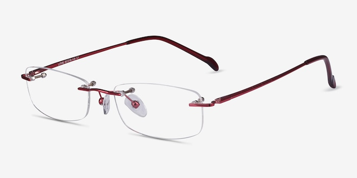 Lithe Cinnamon Red Metal Eyeglass Frames from EyeBuyDirect, Angle View