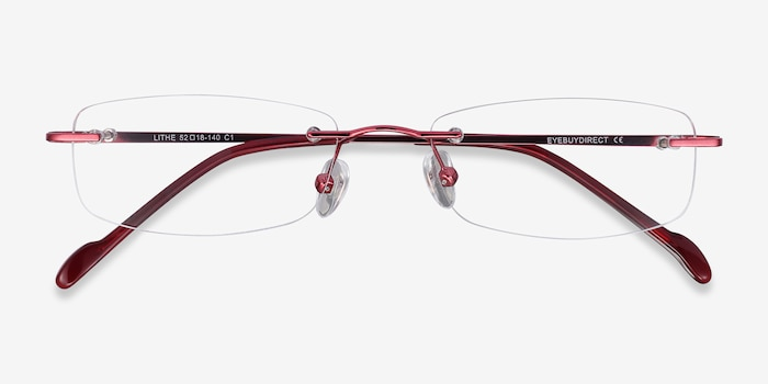 Lithe Cinnamon Red Metal Eyeglass Frames from EyeBuyDirect, Closed View