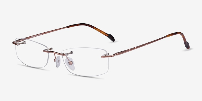 Lithe Rose Gold Metal Eyeglass Frames from EyeBuyDirect, Angle View