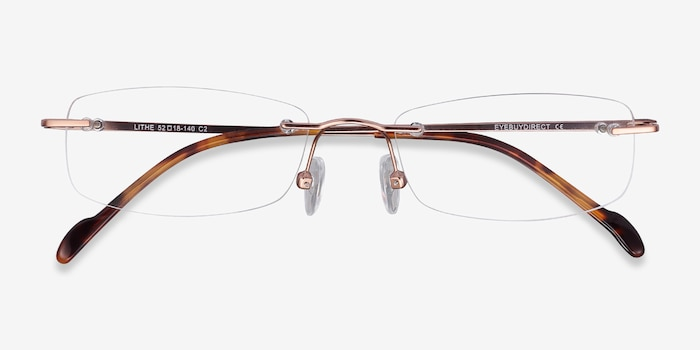 Lithe Rose Gold Metal Eyeglass Frames from EyeBuyDirect, Closed View