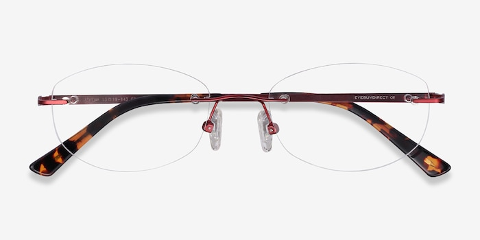 Athena Red Metal Eyeglass Frames from EyeBuyDirect, Closed View