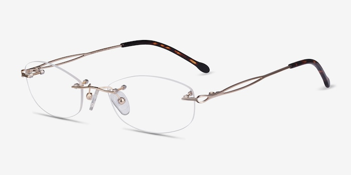 Create Gold Metal Eyeglass Frames from EyeBuyDirect, Angle View