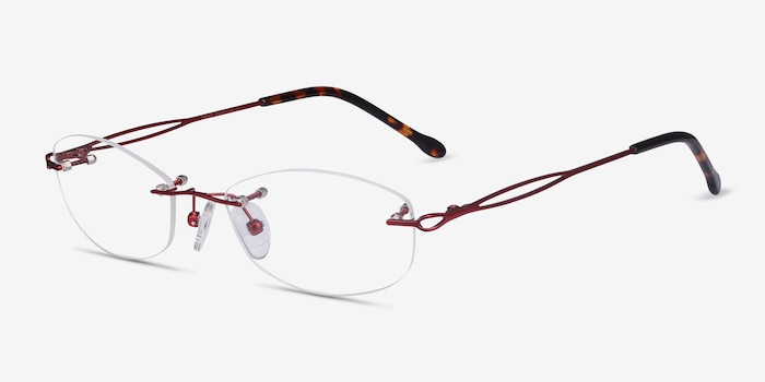 Create Burgundy Metal Eyeglass Frames from EyeBuyDirect, Angle View