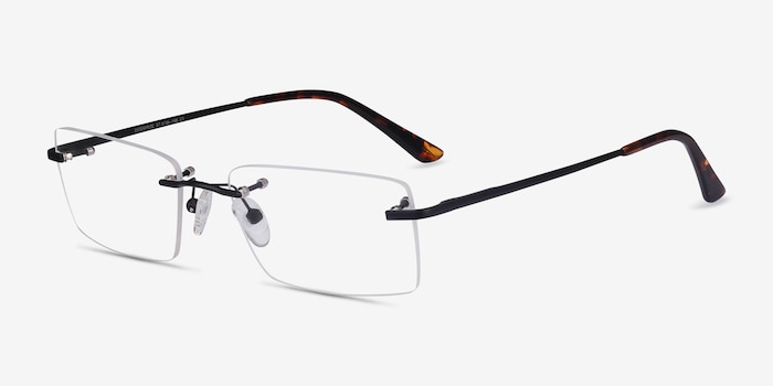 Enterprise Black Metal Eyeglass Frames from EyeBuyDirect, Angle View